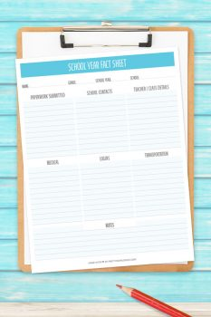 School Year Fact Sheet – Free Printable