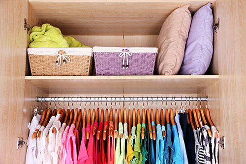 colorful organized closet