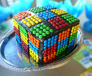 rubiks cube cake with m&ms