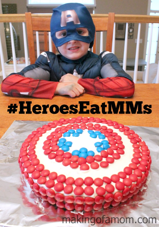 captain america shield cake make with m&ms