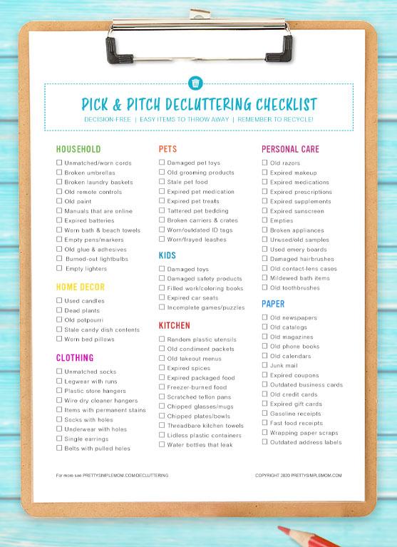 home decluttering checklist