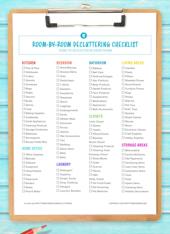 room by room decluttering checklist